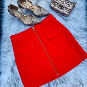 Forever 21 orange zippered mini skirt with pockets